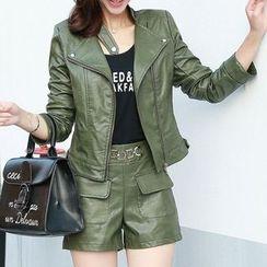 Donnae - 套装: 仿皮夹克 + 短裤