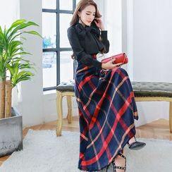 Romantica - Set: Long-Sleeve Bow-Accent Blouse + Check A-Line Maxi Skirt