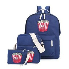 Crystal - Set: Popcorn Print Backpack + Bodycross Bag + Pouch