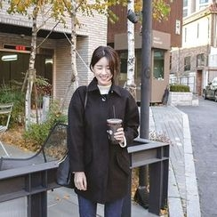 mimi&didi - Belted-Detail Hidden-Button Wool Blend Coat