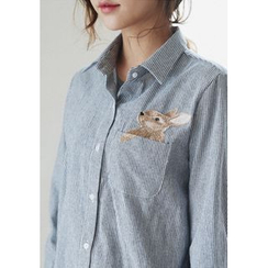 GOROKE - Rabbit-Embroidered Pinstriped Shirt