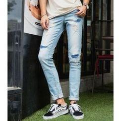 ABOKI - Distressed Blue Jeans