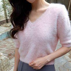 chuu - V-Neck Short-Sleeve Furry-Knit Top