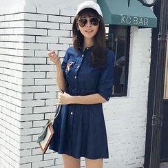 Merald - Elbow-Sleeve Denim Shirt Dress