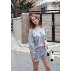 BBORAM - Set: V-Neck T-Shirt + Drawstring-Waist Sweat Shorts