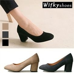 Wifky - Chunky-Heel Faux-Suede Pumps