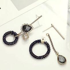 STYLEJING - Asymmetric Crystal Hoop Earrings