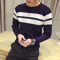 Maluda - Contrast-Stripe Knit Top