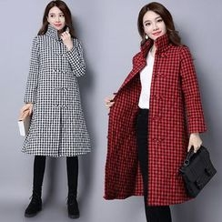 Diosa - Stand Collar Plaid Padded Jacket