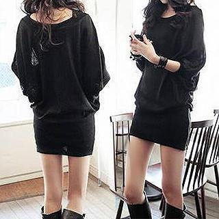Rocho - Dolman-Sleeve Zip-Accent Mini Dress