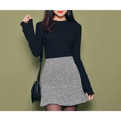 HOTPING - Ruffled-Hem Tweed Skirt