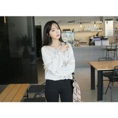 Envy Look - Tie-Front Shirred Blouse