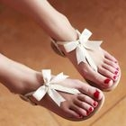 Smoothie - Genuine Leather Bow-Accent Thong Sandals