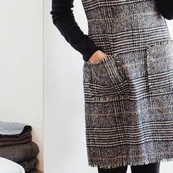 mimi&didi - Glen-Plaid Wool Blend Suspender Dress