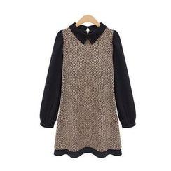GRACI - Panel Long-Sleeve Collared Dress