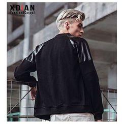Dot2Dot - Faux Leather Panel Zip Baseball Jacket