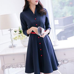 Q.C.T - 3/4-Sleeve A-Line Dress
