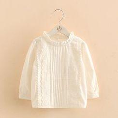 貝殼童裝 - 小童細褶長袖上衣