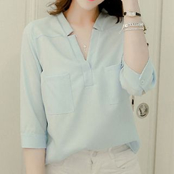 Maine - Notched Neckline Blouse