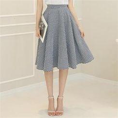 St. Mary - Gingham A-Line Midi Skirt