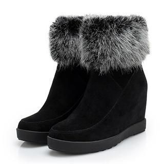 Exull - Furry-Trim Genuine-Leather Wedge Boots