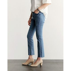 UPTOWNHOLIC - Washed Straight-Cut Jeans