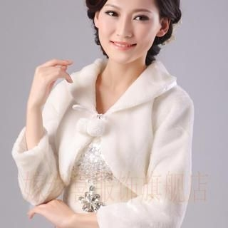 Annie Wedding - Pompom-Accent Faux-Fur Bolero