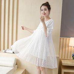 Soswift - 孕婦珠飾中袖連衣裙
