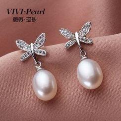 微微珍珠 - 水鑽蝴蝶淡水珍珠耳環