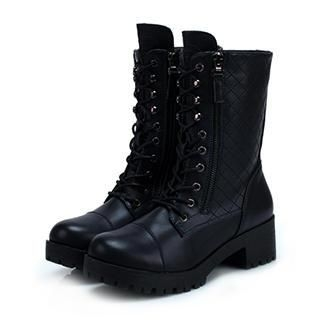Exull - Genuine-Leather Lace-Up Short Boots