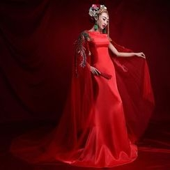 Coeur Wedding - Chinese Cape Mermaid Wedding Dress