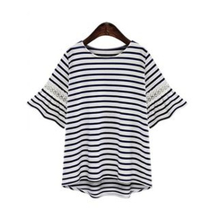 GRACI - Elbow-Sleeve Striped T-Shirt
