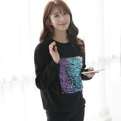 CLICK - Cotton Blend Sequined Sweatshirt