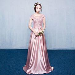 Luxury Style - Embellished Cap-Sleeve Sheath Evening Gown