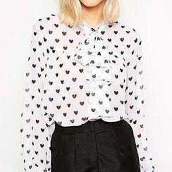 Richcoco - Heart Print Tie-Neck Chiffon Shirt