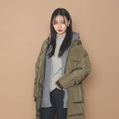 Envy Look - Hooded Zip Long Padded Coat
