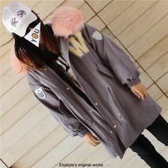 Elfina - Furry Hooded Applique Padded Parka