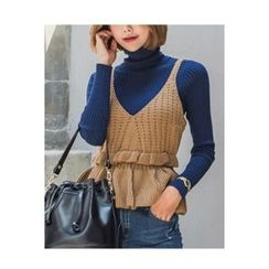 migunstyle - Sleeveless Peplum Knit Top