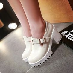 Pastel Pairs - Chunky Heel Buckled Shoes