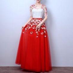 LYRA - Floral Print Elbow-Sleeve Evening Dress