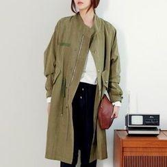 ANNINA - Mandarin-Collar Drawstring-Waist Trench Coat