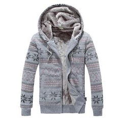 Free Shop - Fleece-Lined Nordic Print Hoodie