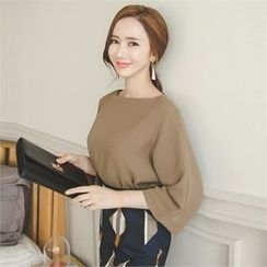 ode' - Boat-Neck 3/4-Sleeve Top