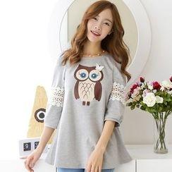 PUDDIN - 3/4-Sleeve Print Long T-Shirt