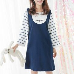 Fairyland - Embroidered Mock Two-piece Stripe Panel Dress