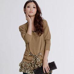 Tokyo Fashion - Patterned Chiffon-Hem Tunic