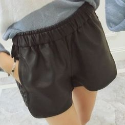 Heybabe - Studded Faux Leather Shorts