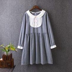 藍玫瑰衣坊 - 長袖飾褶連衣裙