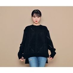HOTPING - Round-Neck Cable-Knit Top