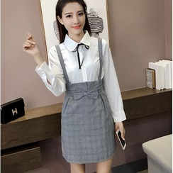 Oaksa - Set: Tie Neck Shirt + Plaid Bow Accent Suspender Skirt